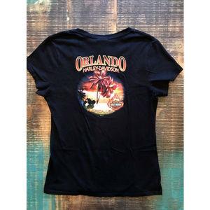 Harley Davidson Flame On V-Neck Graphic T-Shirt